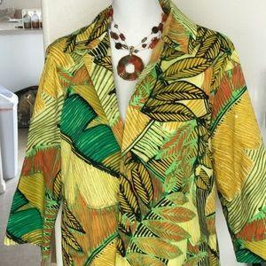 Chico's yellow tropical blazer size 2
